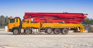 Truck or machine with concrete pump for construction. And industrial use royalty free stock images