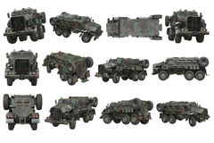 Truck military army transport set Royalty Free Stock Photography