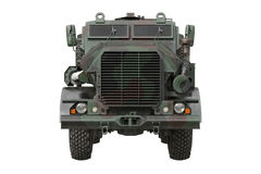 Truck military camouflaged car, front view Stock Photo