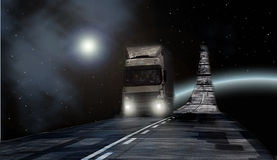 Truck on Milky way Royalty Free Stock Photo
