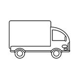 Truck mini delivery cargo outline Stock Photos