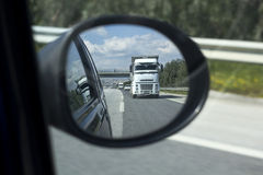 Truck on the mirror Royalty Free Stock Photo