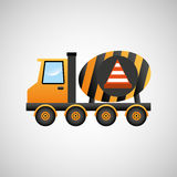 Truck mixer concrete warning icon graphic Royalty Free Stock Photography