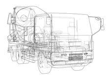 Truck mixer sketch. 3d illustration. Truck mixer sketch or blueprint. 3d illustration Stock Images
