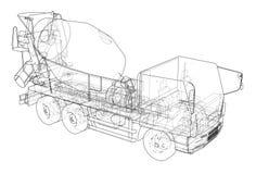 Truck mixer sketch. 3d illustration. Truck mixer sketch or blueprint. 3d illustration Royalty Free Stock Images