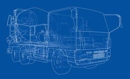 Truck mixer sketch. 3d illustration. Truck mixer sketch or blueprint. 3d illustration Stock Photos