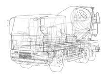 Truck mixer sketch. 3d illustration. Truck mixer sketch or blueprint. 3d illustration Stock Image