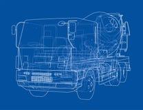 Truck mixer sketch. 3d illustration. Truck mixer sketch or blueprint. 3d illustration Royalty Free Stock Image