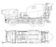 Truck mixer sketch. Vector. Rendering of 3d. The layers of visible and invisible lines are separated Stock Photos