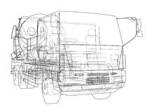 Truck mixer sketch. Vector. Rendering of 3d. The layers of visible and invisible lines are separated Stock Photography