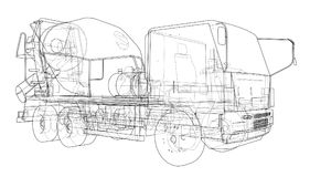 Truck mixer sketch. Vector. Rendering of 3d. The layers of visible and invisible lines are separated Royalty Free Stock Photos