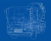 Truck mixer sketch. Vector Royalty Free Stock Images