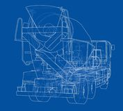 Truck mixer sketch. Vector. Rendering of 3d. The layers of visible and invisible lines are separated Royalty Free Stock Photography
