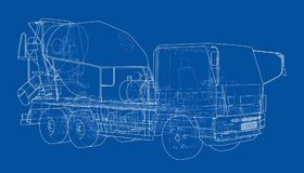 Truck mixer sketch. Vector. Rendering of 3d. The layers of visible and invisible lines are separated Stock Image