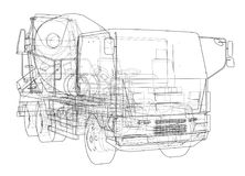 Truck mixer sketch. Vector. Rendering of 3d. The layers of visible and invisible lines are separated Stock Images