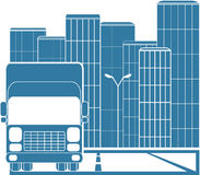 Truck in modern city. Silhouette of truck on background of modern city Stock Image