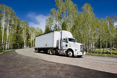 Truck motion. Truck on highway - on a background of blue sky and trees Stock Image