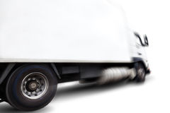 Truck and motion blur. Truck isolated over white background .Motion blur.Transport of commodity Stock Photography