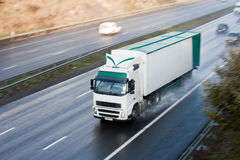 Truck on Motorway Blurred Motion Stock Photography