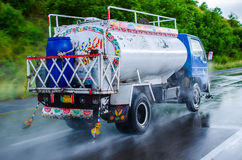 Truck at Motorway. Image was take at motorway M2 from Islamabad to Lahore. it was raining, its Panning shot take from another vehicle moving about the same stock photography