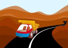 Truck on a mountain road Royalty Free Stock Images