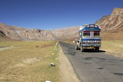 Truck on Mountain Road Royalty Free Stock Photography