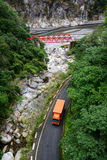 A truck on the mountain road at Hualien County, Taiwan Stock Photography