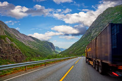 Truck on the mountain scenery Stock Images
