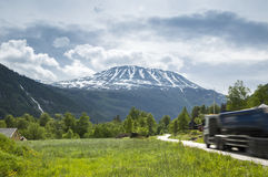 Truck on the  mountainous road Stock Images