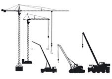 Truck-mounted crane and crane Stock Image