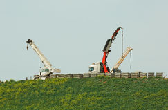 Truck mounted cranes Royalty Free Stock Photos