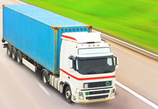 Truck moves fast. On road Stock Images