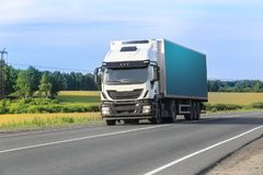 Truck moves on highway. Big truck moves on highway Stock Photos
