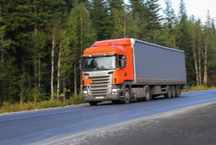 Truck moves on highway. Big truck moves on country highway Stock Image