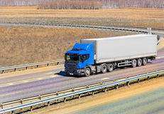Truck moves on highway Stock Image