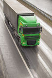 Truck moves on highway. Big powerful truck moves on highway Royalty Free Stock Image