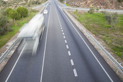 Truck moves at spanish national road with slow vehicles lane. Cerro Muriano, Cordoba Royalty Free Stock Photography