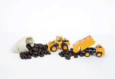 Truck moving coffee bean on white background Royalty Free Stock Photography