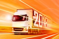 Truck 2018 moving at night. 3D illustrationof white truck that moving in tunnel at night stock illustration