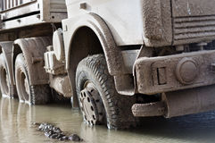 Truck with a muddy rear wheel Royalty Free Stock Photos