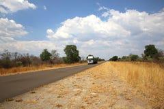Truck in Namibia. Truck near Katima Mulilo at the Caprivi Strip. Namibia Stock Photo