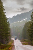 Truck on narrow road in forest area Stock Photography