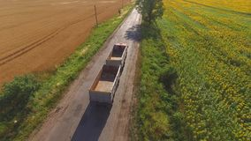 Truck near field. Nature and asphalt road. Basics of commercial farming stock video footage
