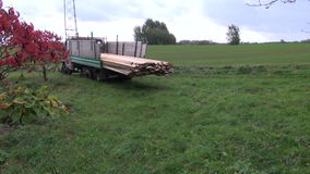 Truck with new wooden boards stock video footage