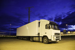 Truck at night. Truck in a parking. Plenty of copyspace Stock Photography