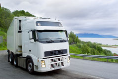 The truck on the Norwegian road. The truck on the Norwegian mountain road Stock Photography