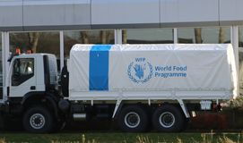 Free Truck Of The World Food Program United Nations Is Waiting At The Dealer For Transport From The Netherlands. Royalty Free Stock Photos - 137194328