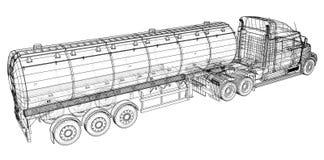 Truck, Oil trailer. Gasoline tanker. Created illustration of 3d. Wire-frame. Truck, Oil trailer. Gasoline tanker. Created illustration of 3d. Wire-frame stock illustration