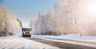 Free Truck On Winter Road Covered With Snow Stock Image - 159832761