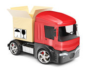 Truck with open cardboard box Stock Images
